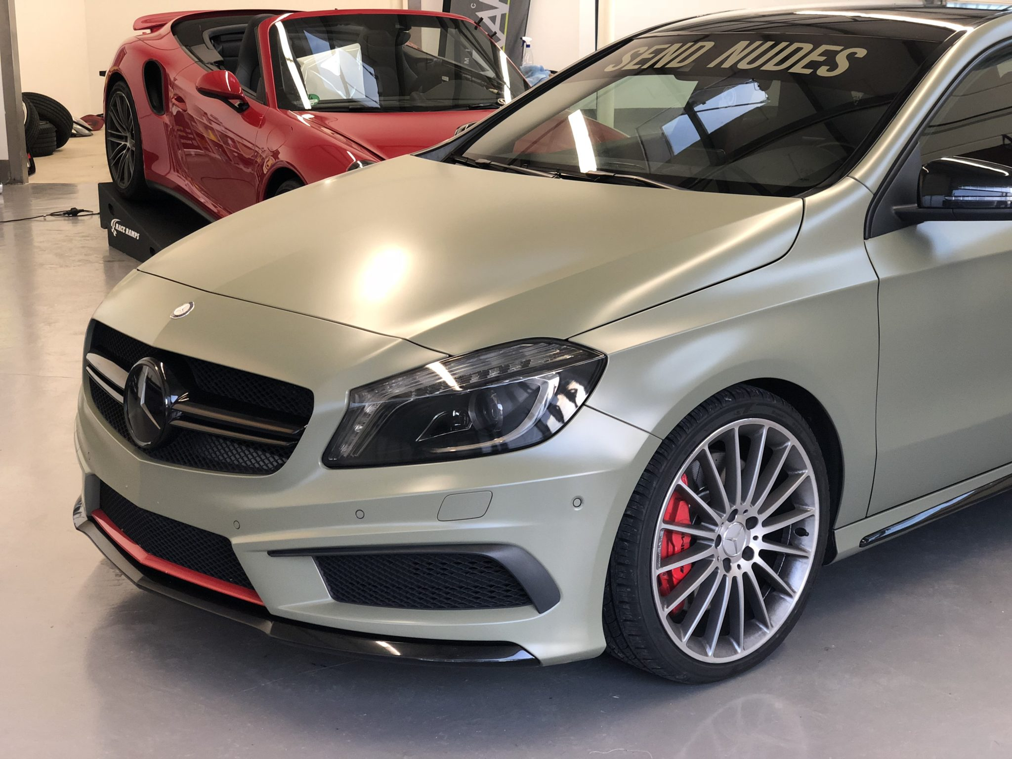 Mercedes A45 AMG satin khaki Avery